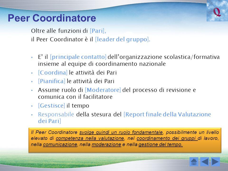 Peer Coordinatore Oltre alle funzioni di [Pari],